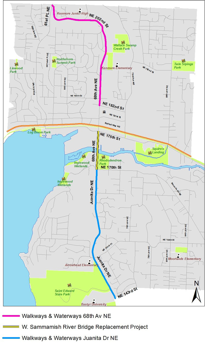 Map showing three construction projects: 68th Avenue NE Pedestrian/Bicycle Safety Project on 68th Avenue NE between NE 182nd Street 61st Place NE; West Sammamish River Bridge Replacement Project on 68th Avenue NE between NE 170th Street and NE 175th Street; and the Juanita Drive NE Pedestrian/Bicycle Safety Project on Juanita Drive NE between the City of Kirkland limit and NE 170th Street.